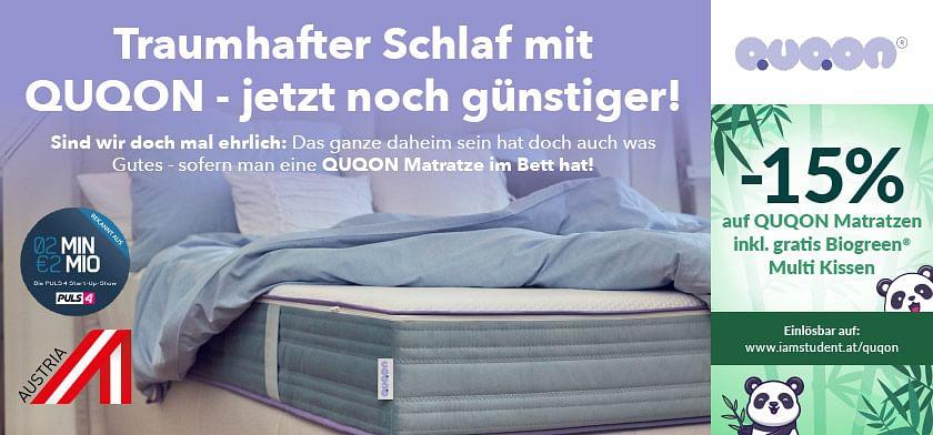 15% Rabatt auf QUQON Matratzen inkl. gratis Biogreen Multi Kissen