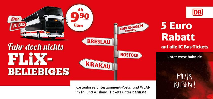 5 Euro Rabatt auf alle IC Bus-Tickets