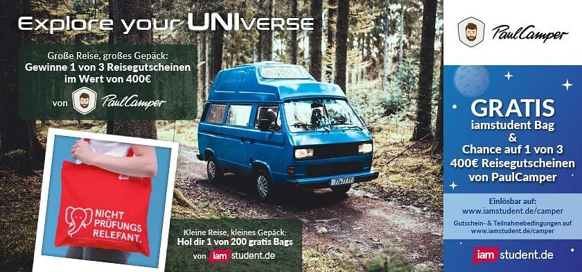 GRATIS iamstudent Bag & Chance auf 1 von 3 400€ Reisegutscheinen von PaulCamper