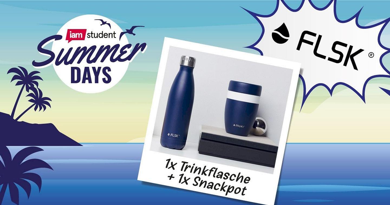 1x FLSK Trinkflasche MDNGHT und 1x muki Snackpot MDNGHT