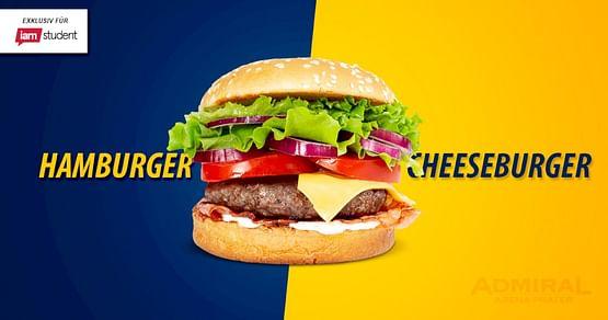 Lass es dir in Europas größter Sportsbar schmecken! Mit unserem ADMIRAL Arena Prater Studentenrabatt erhältst du das Burger-Menübestehend aus Burger und Getränk exklusiv um nur 6,90€!