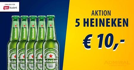 Europas größte Sportsbar mitten in Wien hat endlich wieder offen – das feiern wir! Mit unserem ADMIRAL Arena Prater Studentenrabattsicherst du dir jetzt5 Flaschen Heineken um unschlagbare 10€ statt um 18,50€.