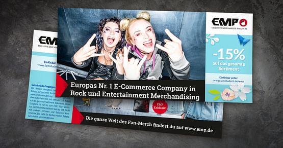 EMP ist Europas größter Onlineshop für Fanartikel und Brandmerchandise. Mit unserem Gutschein von EMP bekommst du 15% Studentenrabatt auf das gesamte Sortiment!