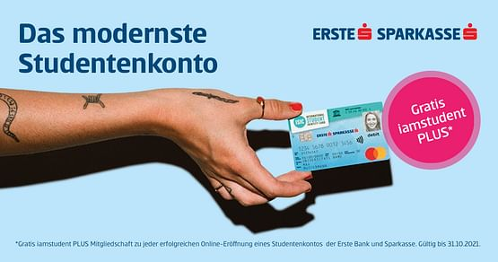 Du bist aktuell ganz schön knapp bei Kasse? Dann hol dir jetzt deinGRATIS-Studentenkonto derErste Bank und Sparkasseinkl. gratis iamstudent PLUS Mitgliedschaft und das österreichweit!
