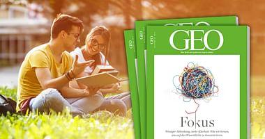 Jeden Monat aufs Neue erzählt GEO packende Geschichten rund um unsere faszinierende Welt. Mit unserem GEO Studentenrabatt bekommst du 6 Ausgaben GEO um -40% und zusätzlich einen 10€ Amazon-Gutschein. So erhältst du 6 Ausgaben für nur 18,80€.