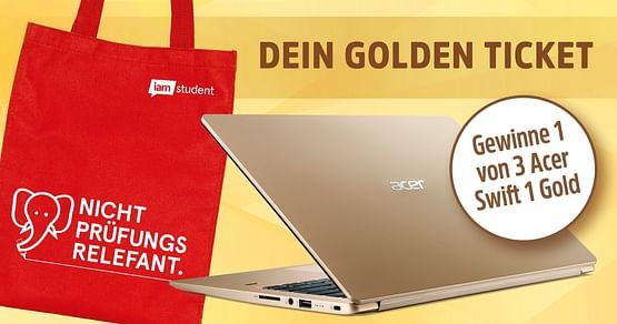 """Gutschein für200x1 gratis iamstudent Bag & die Chance auf 1 von 3 Acer Swift 1Notebooks in Gold!Achtung: Bags vergriffen! Mit Klick auf """"Gutschein einlösen"""" nimmst du dennoch an der Verlosung der Acer Swift 1Notebookes teil!"""