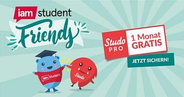 """Mit iamstudent friends gemeinsam mehr vom Studium! Lade eine/n FreundIn zu iamstudent ein und erhalteStudoPROfür 1 Monat gratis. Mit Klick auf """"Gutschein einlösen"""" gelangst du direkt zur Aktion!"""