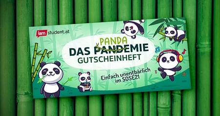 Die Pandemie kann uns mal, hier kommt unseraktuelles PANDAMIE Gutscheinheftmit bärenstarken Rabattangeboten fürs Sommersemester 2021! Sparen kannst du beiThalia, Lindt, Domino