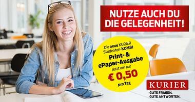 Du weißt einfach gerne Bescheid, was in Österreich & dem Rest der Welt vorgeht? KURIER versorgt dich täglich mit den wichtigsten News & mit unserem Gutschein von KURIER bekommst du 60% Studentenrabatt auf die Studentenabo-Kombi!