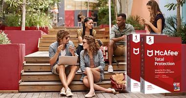 McAfee schützt dich und deinen Computer vor Bedrohungen im Netz und mit unserem McAfee Studentenrabatt sparst du bis zu 89% (das entspricht 6,49€ für ein Gerät oder 9,99€ für 5 Geräte) auf die McAfee Total Protection!