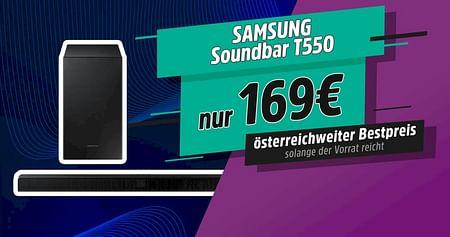 Hol dir bei unserer STUDENT WEEK die genialsten Studentenrabatte! Mit dem Samsung Gutschein bekommst du die Soundbar T550ganze160€ günstiger undprofitierst von kraftvollem 3D Surround Sound für zu Hause. Gültig solange der Vorrat reicht.